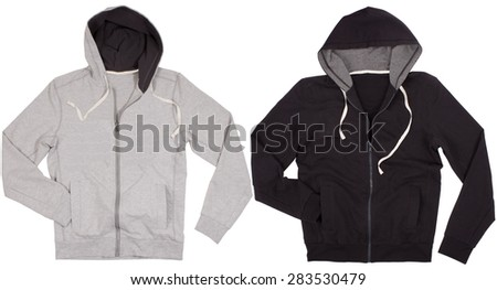 Two hoodie shirts isolated on a white background - stock photo