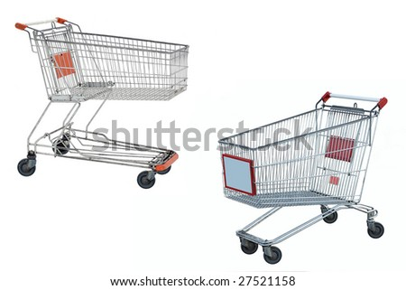Two hopping trolleys under the white background