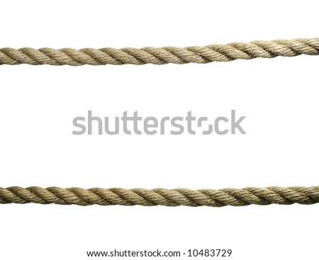 two horizontal old natural fiber ropes isolated on white - stock photo