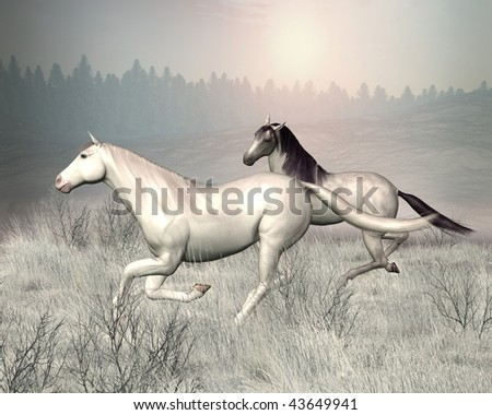 Two horses galloping through a snowy landscape - stock photo
