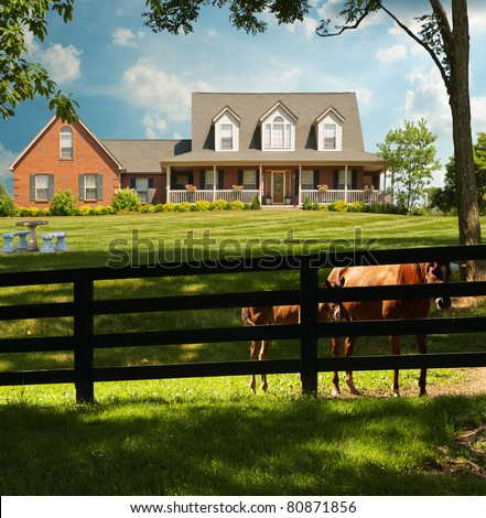 Two horses peek through the fence surrounding a horse farm in Kentucky, USA. - stock photo