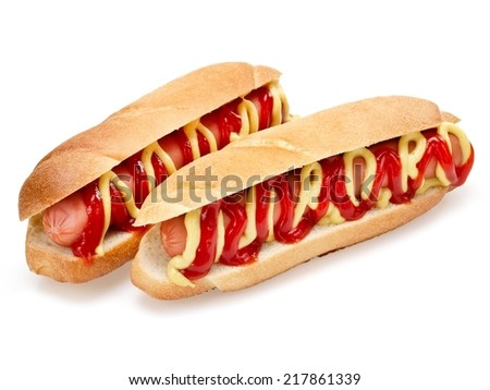 Two hot dogs - stock photo
