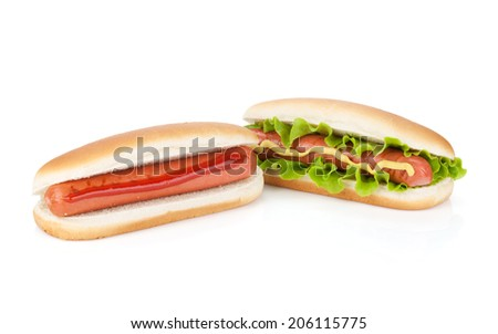 Two hot dogs with various ingredients. Isolated on white background - stock photo