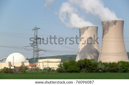 two huge pipes of nuclear plant - stock photo