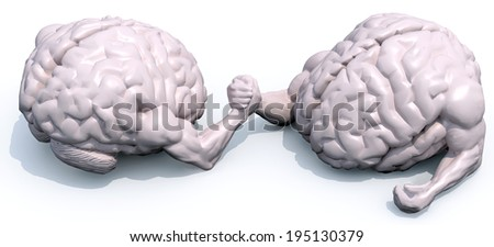two human brains that make arm wrestling, 3d illustration - stock photo