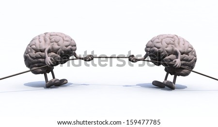 two human brains tug of war rope, 3d illustration - stock photo