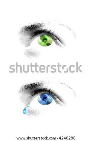 Two human eyes in green and blue with map pattern