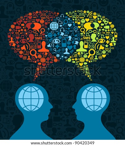 Two human figures face to face in business conceptual social media communication. - stock photo