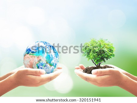 Two human hand holding blue planet and Heart shape of tree. Ecology, CSR, Earth Hour, Arbor, Idea, Kind, Globe, Garden, Energy, Seedling, Give, Synergy. Elements of this image furnished by NASA. - stock photo