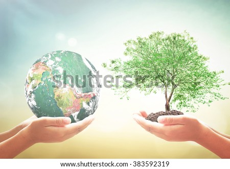 Two human hand holding planet and big tree. Ecology CSR Executive Business Generosity Investment Kindness Love Clean Recycle Arbor Spring Time Grow concept. Elements of this image furnished by NASA. - stock photo