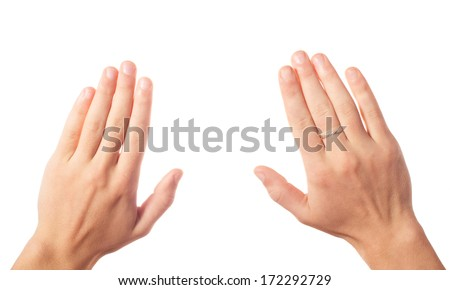 Two human hands - stock photo