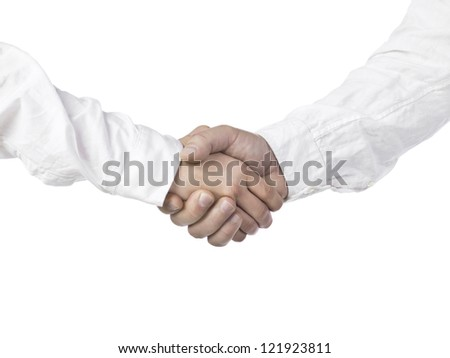 Two human hands in white sleeves doing a shake hands