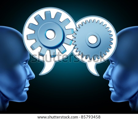 Two human heads sharing referrals to increase business opportunities represented by two faces talking with word bubbles with gears and cogs as symbols of networking. - stock photo