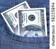 Two hundred Dollars in pocket of jeans - stock photo
