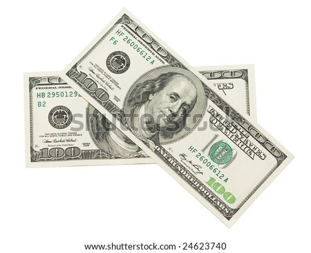 two hundred dollars on white background