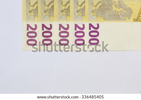 Two hundred euro banknote isolated on a white background - stock photo