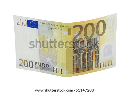 Two hundred euro banknote with a hologram isolated on a white background - stock photo
