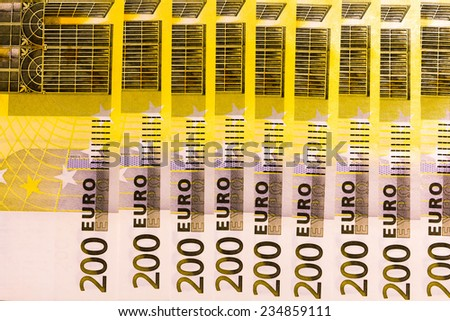 Two hundred euro banknotes background - stock photo