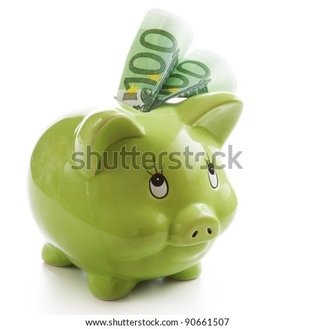 Two hundred Euros in a green piggy bank - stock photo