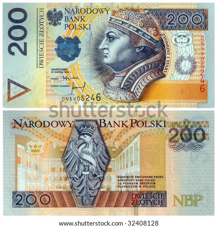 Two hundred zloty polish currency bank note. Both sides. Isolated on white.