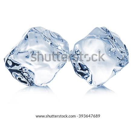 Two ice cubes close-up isolated on a white background. Clipping pats. - stock photo