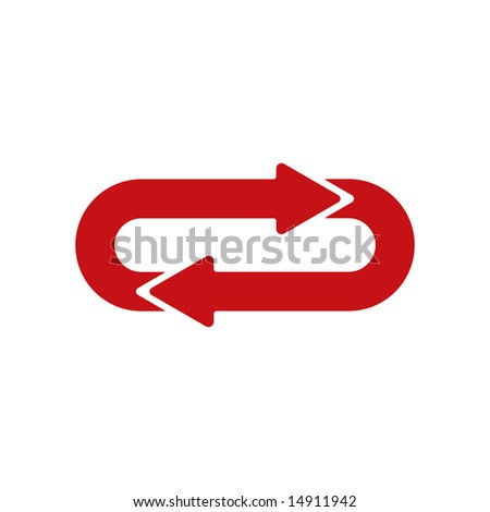 Two Identical Arrows Following Each Other in a Closed Circuit - stock photo