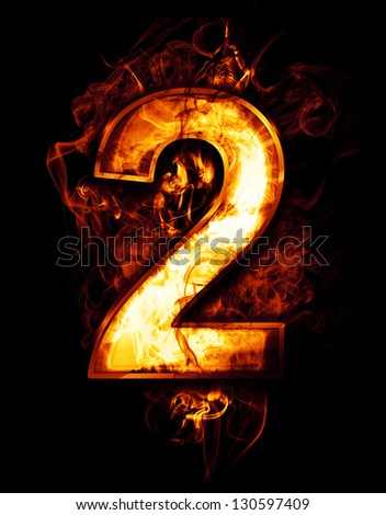 two, illustration of  number with chrome effects and red fire on black background - stock photo