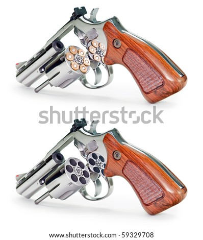Two image of the same gun (empty and full of bullet) on a white background. - stock photo