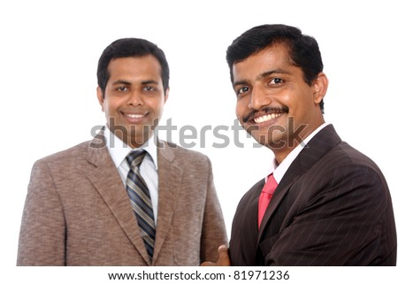 Two Indian business people posing to the camera, isolated on white. - stock photo