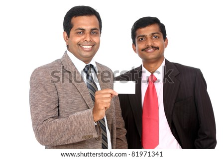 Two Indian business people showing theirs business card, Isolated on white. - stock photo