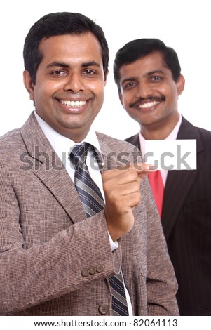 Two Indian business people showing theirs business card, Isolated on white.
