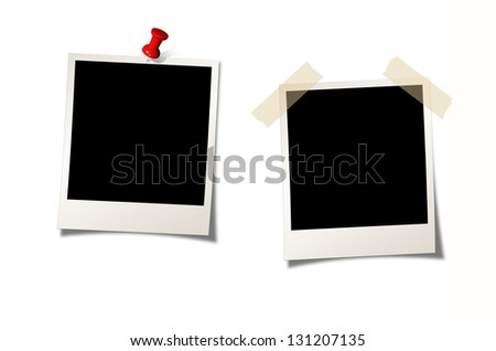Two Instant Photos on white background - stock photo