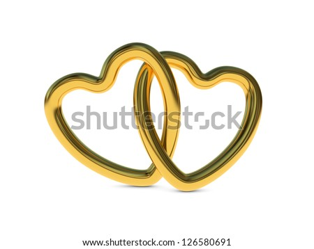 Two intertwined gold heart rings (3D render) - stock photo