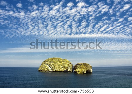 two islands off the coast of mexico - stock photo