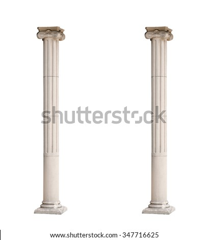Two isolated architectural columns on a white background.