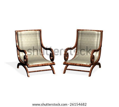 Two isolated armchairs on a white background