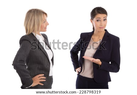 Two isolated businesswoman talking together: concept for body language.