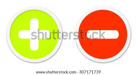 Two isolated Buttons red green plus and minus