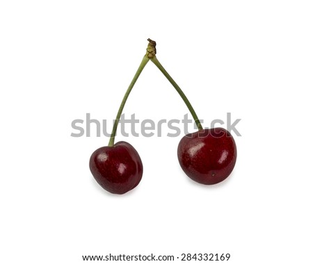 two isolated cherries