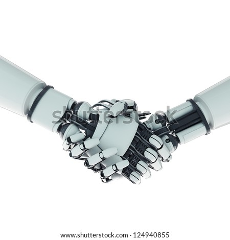 Two isolated handshaking robotic arms on white background