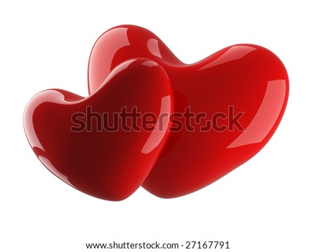 Two isolated heart on a white background. 3D image. - stock photo