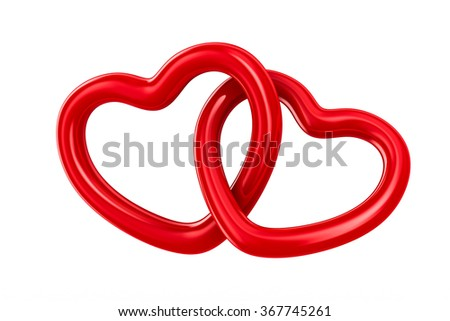 Two isolated heart on white background. 3D image - stock photo