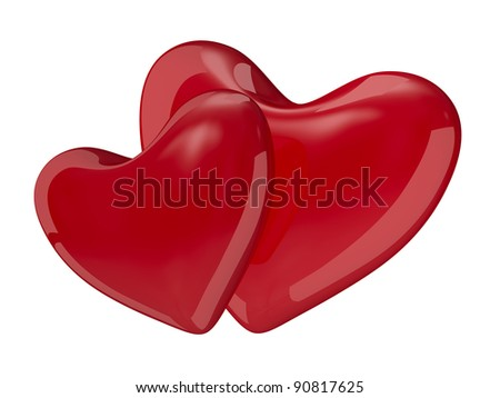Two isolated hearts on white background. 3D image - stock photo