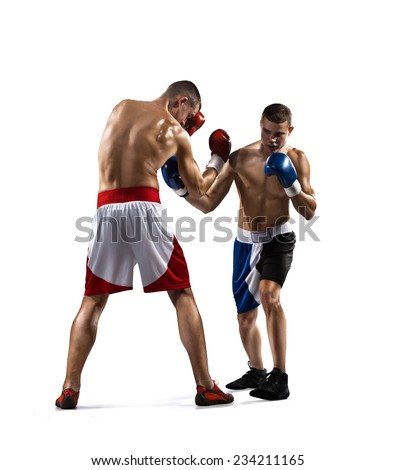 Two isolated professionl boxers are fighting on the white background