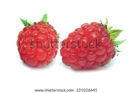 Two isolated raspberries on a white studio background. - stock photo