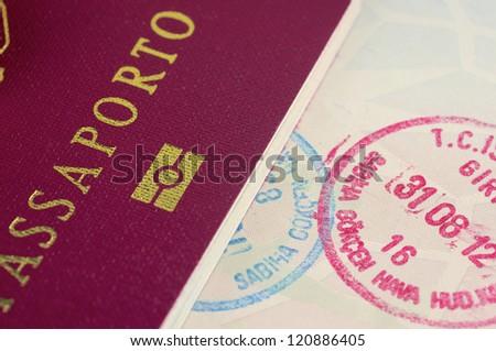 Two italian passport - stock photo