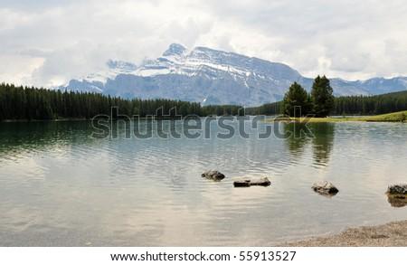 two jack lake, banff national park, canadian rockies - stock photo