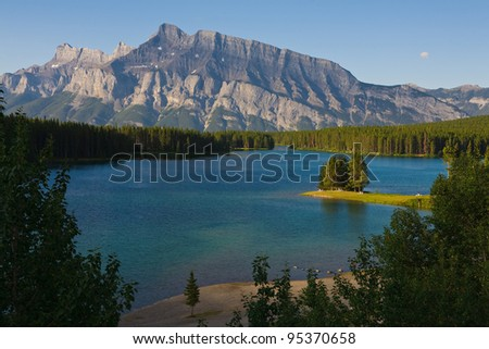 Two Jack Lake in Banff, Alberta, Canada - stock photo