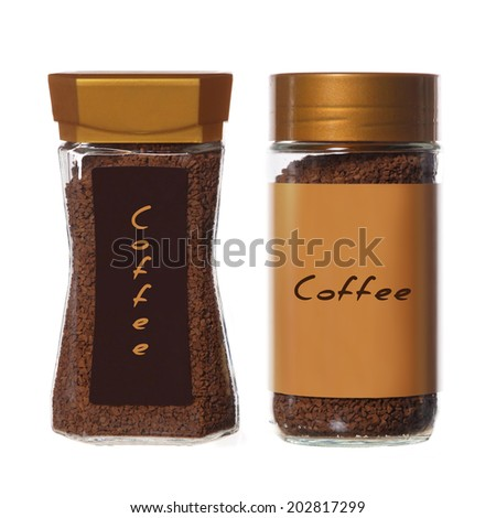 two jars of instant coffee isolated on white - stock photo