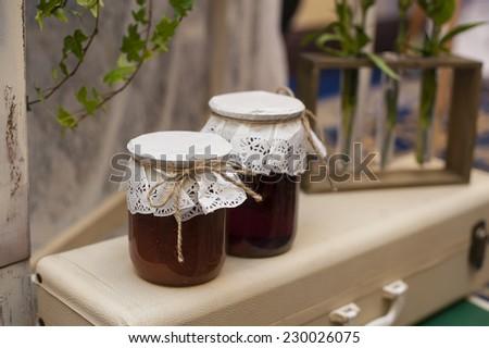 two jars of jam. - stock photo